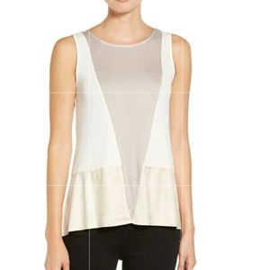 Trouve Beige White Tan Mixed Media Vegan Leather Open Back Tank Top Small
